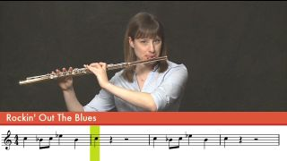 "Woman playing flute, with musical score below ""Rockin Out the Blues"""