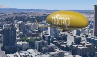 Plimp flying over Seattle
