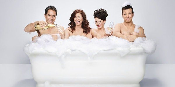 Will and Grace's cast in the tub for a promo image