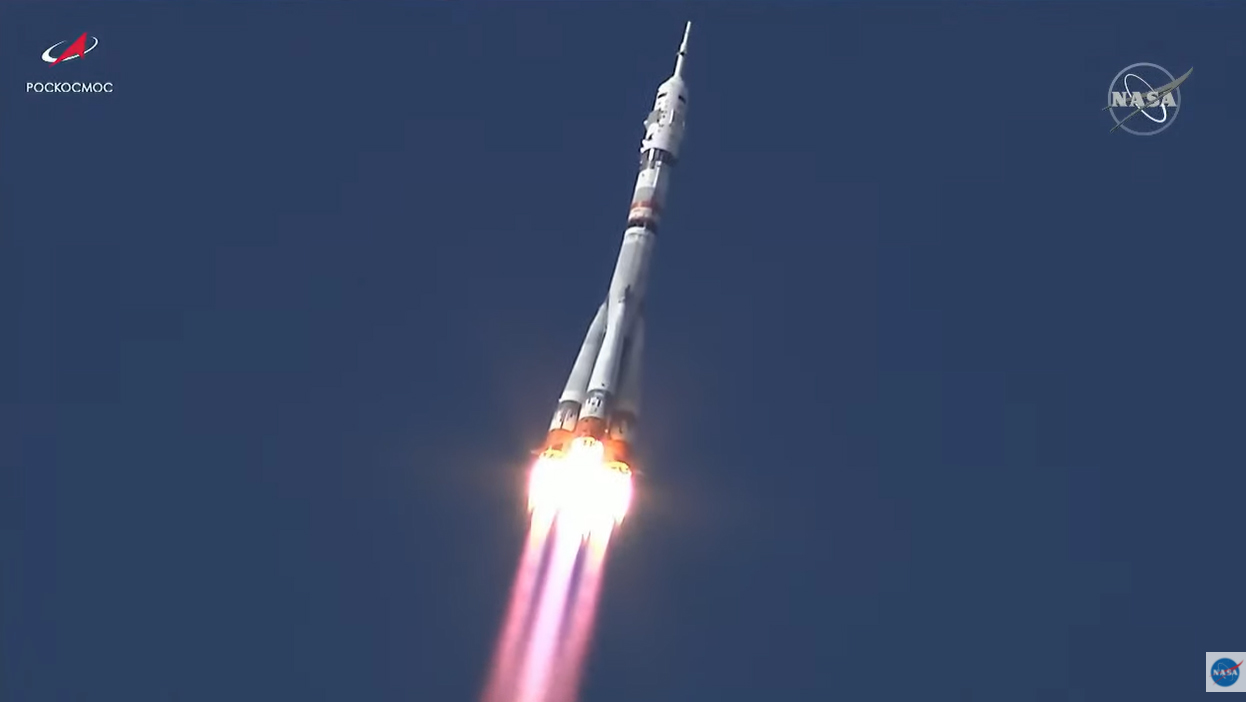 A Russian Soyuz rocket and Soyuz MS-18 spacecraft launch a film crew toward the International Space Station from Baikonur Cosmodrome, Kazakhstan on Oct. 5, 2021.