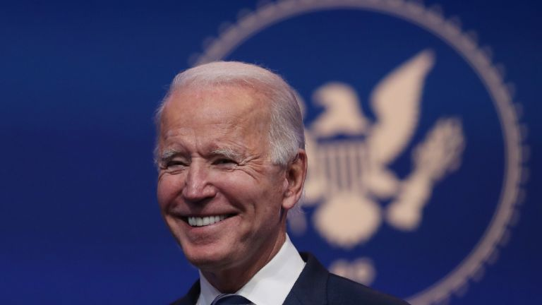 WILMINGTON, DELAWARE - NOVEMBER 10: U.S. President-elect Joe Biden addresses the media about the Trump Administration's lawsuit to overturn the Affordable Care Act on November 10, 2020 at the Queen Theater in Wilmington, Delaware. Mr. Biden also answered questions about the process of the transition and how a Biden Administration would work with Republicans. )