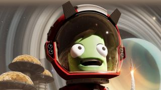 Kerbal Space Program 2 - A green Kerbal with long hair stares at a rocket launch in awe while wearing a red and white space helmet.