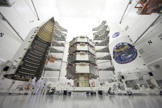 Four MMS Satellites Stacked