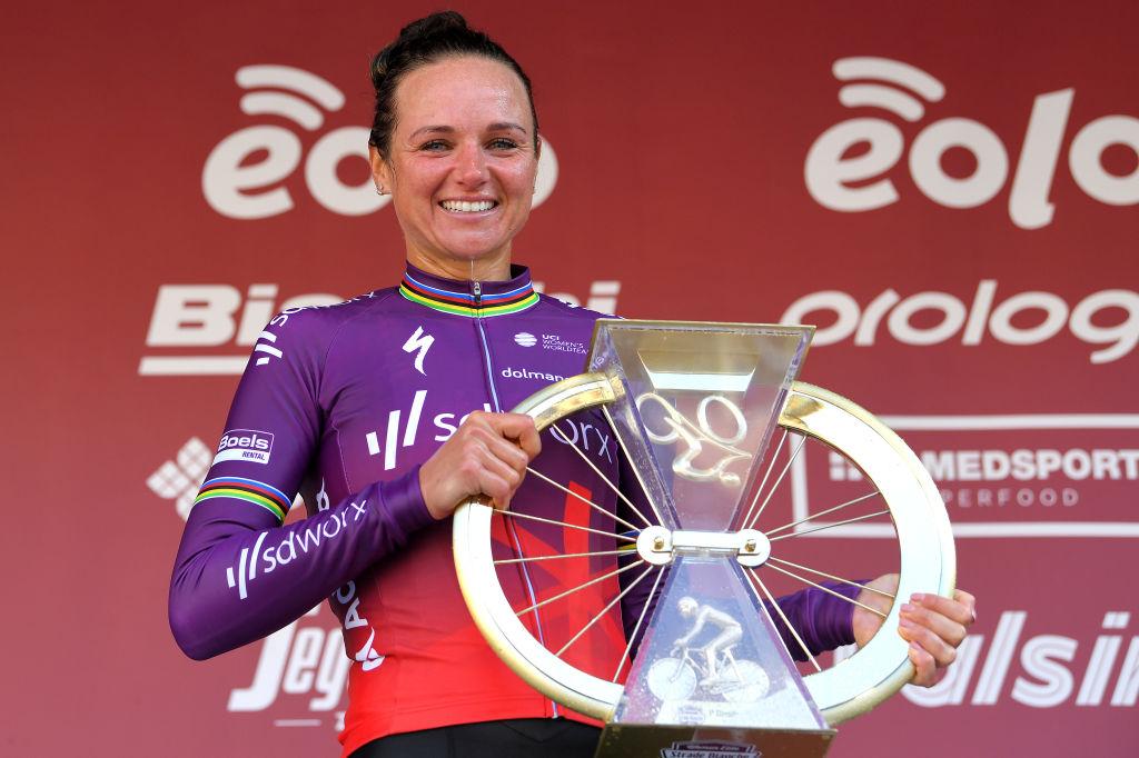 Chantal Van Den Broek - Blaak on the Strade Bianc the podium