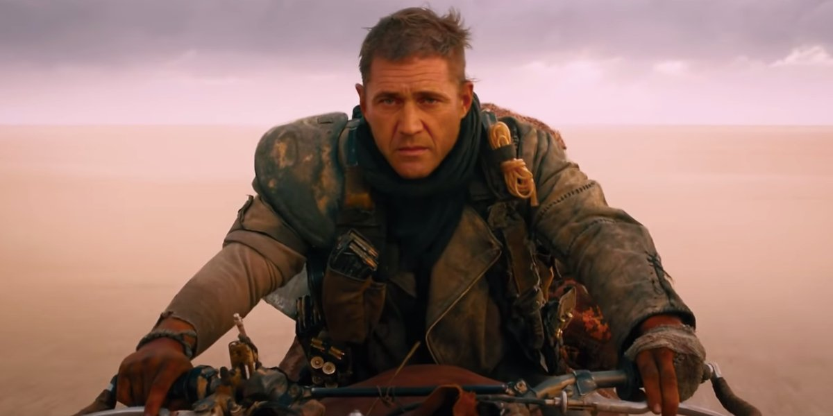 Mad Max: Fury Road Mel Gibson's face on Tom Hardy's body, on a motorcycle