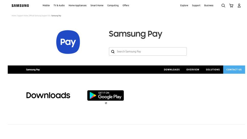 Website screenshot of Samsung Pay