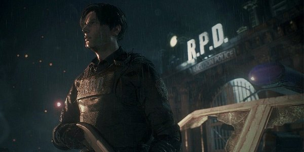 Leon Kennedy stands in the rain in Resident Evil 2.