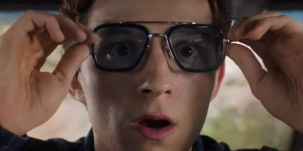 Spider-Man: Far From Home Peter wearing the EDITH glasses, looking shocked
