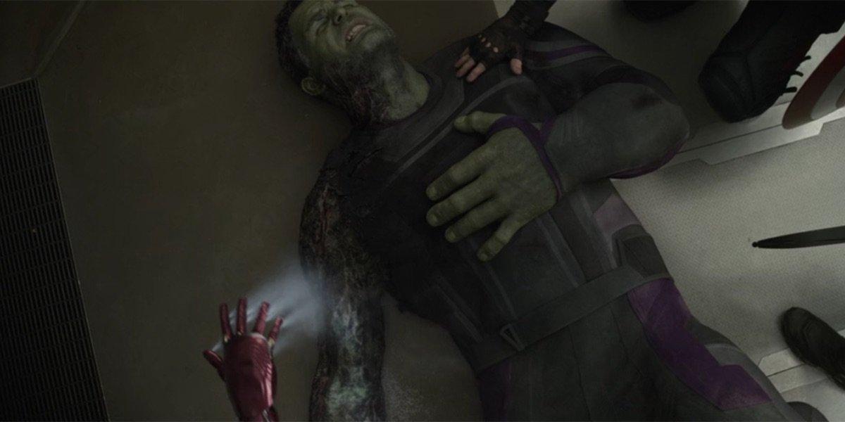 Hulk with damaged arm in Avengers: Endgame