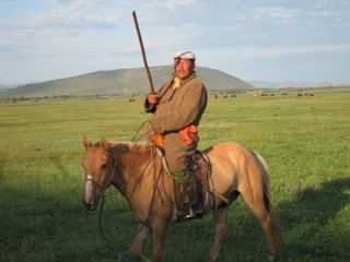 Mongolian man on a horse