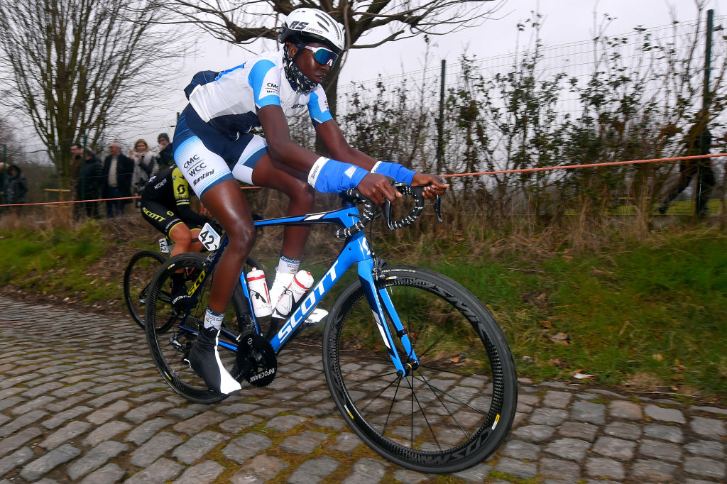 NINOVE BELGIUM MARCH 02 Teniel Campbell of Trinidad Tobago and Team UCI Centre Mondial Du Cyclisme Cobblestones during the 13th Omloop Het Nieuwsblad 2019 Women a 1229km race from Gent to Ninove OmloopHNB Flanders Classic on March 02 2019 in Ninove Belgium Photo by Luc ClaessenGetty Images