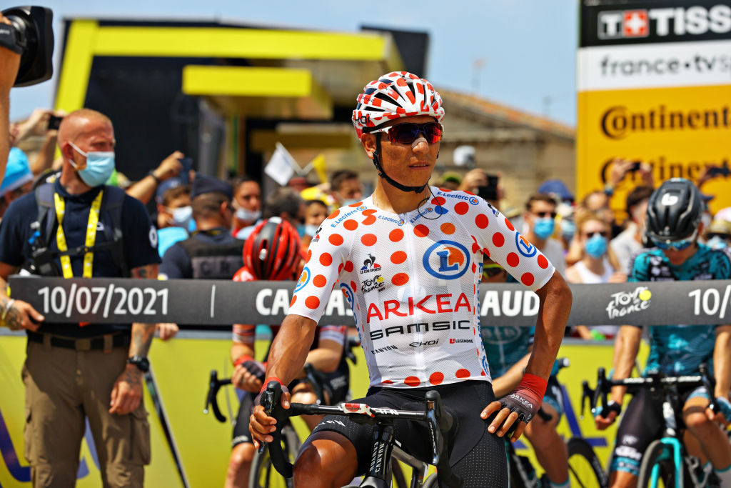 QUILLAN FRANCE JULY 10 Nairo Quintana of Colombia and Team Arka Samsic Polka Dot Mountain Jersey at start during the 108th Tour de France 2021 Stage 14 a 1837km stage from Carcassonne to Quillan LeTour TDF2021 on July 10 2021 in Quillan France Photo by Tim de WaeleGetty Images