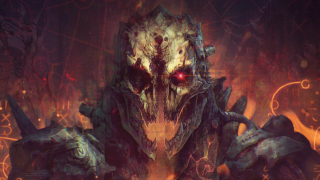 A concept artwork of a skull-faced demon from the game Jupiter Hell.