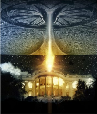 "An alien spacecraft attacking the White House in the 1996 film ""Independence Day."""