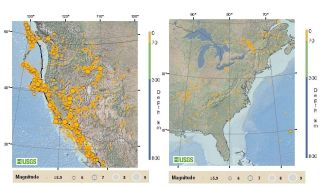 earthquake frequency map shows the temblors that have occurred on the east and west coasts of the U.S.