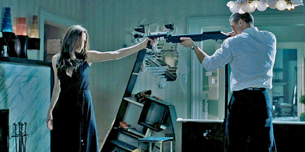 Angelina Jolie and Brad Pitt try to kill each other in Mr. and Mrs. Smith