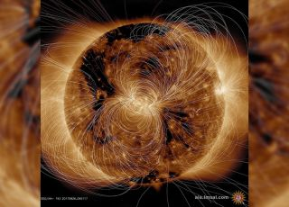 The sun is a ball of invisible, electromagnetic explosions. This stunning ultraviolet image taken by NASA's Solar Dynamics Observatory models what those swirling electric field lines actually look like.