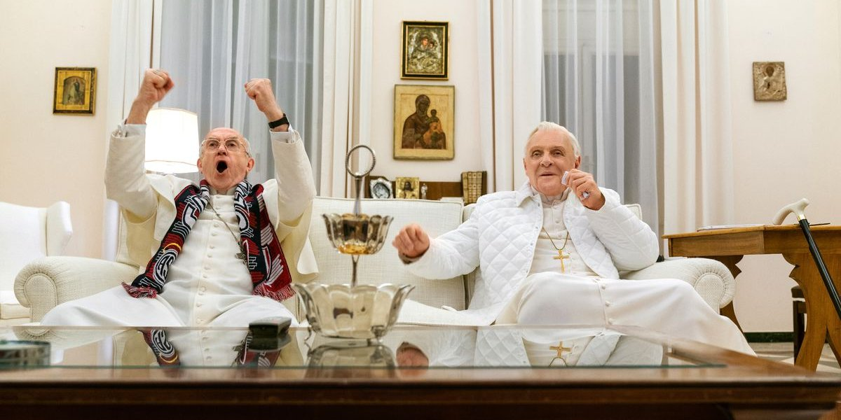 Jonathan Pryce and Anthony Hopkins in The Two Popes