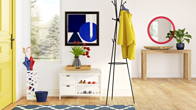 Modern hallway design in red, yellow and blue primary color design