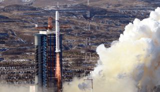A Chinese Long March 2D rocket launches two SuperView1 Earth observation satellites into orbit from the Taiyuan Satellite Launch Center on Wednesday, Dec. 28, 2016.