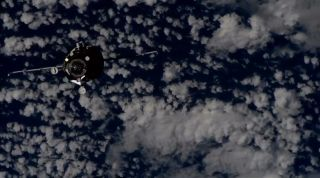 The Russian cargo ship Progress 71 approaches the International Space Station on Nov. 18, 2018 in this view from a video camera on the station. The robotic supply ship delivered 2.8 tons of supplies to the station.