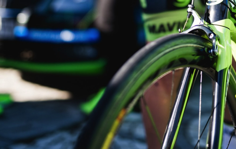 Photo: New Mavic wheel section on a Cannondale team bike. Photo: Gruber Images.
