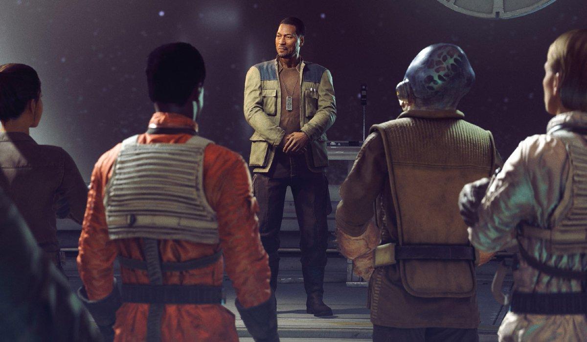 Star Wars: Squadrons Lindon Javes briefs Vanguard Squadron