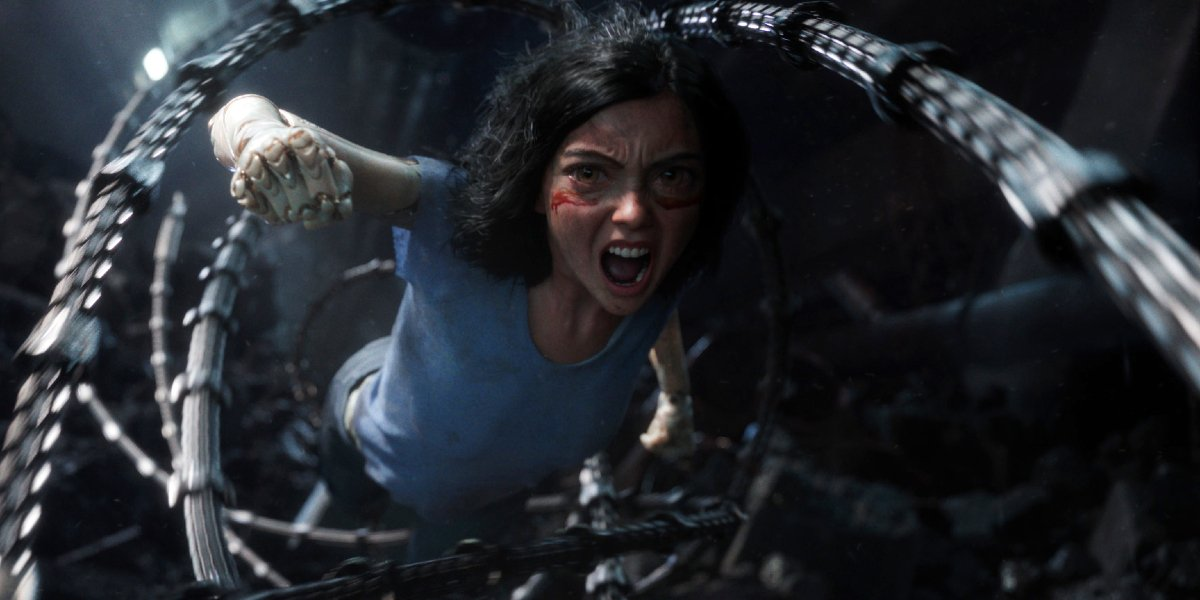 Alita: Battle Angel Alita flying through Grewishka's grind cutters