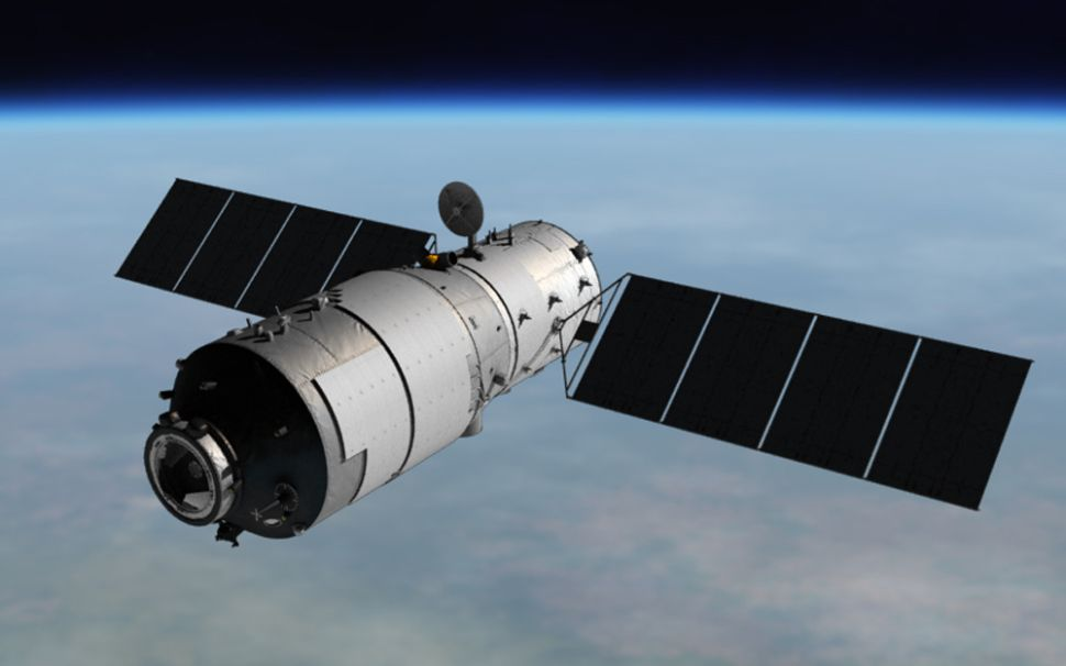 China's first space station Tiangong-1, shown here in an artist's illustration, is expected to fall to Earth around April 1, 2018.