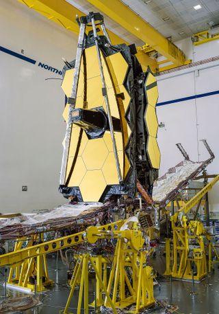 NASA's James Webb Space Telescope, after integration, at Northrop Grumman Clean Room facility in Redondo Beach, California.