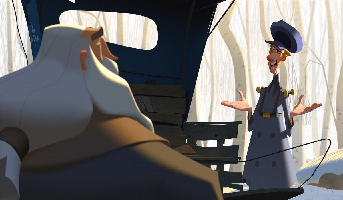 Klaus Jesper speaks to Klaus in front of a sled