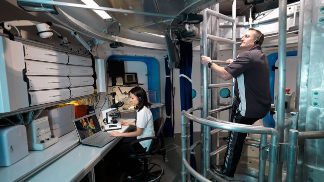 Astronauts taking part in a simulation in NASA's Human Exploration Research Analog