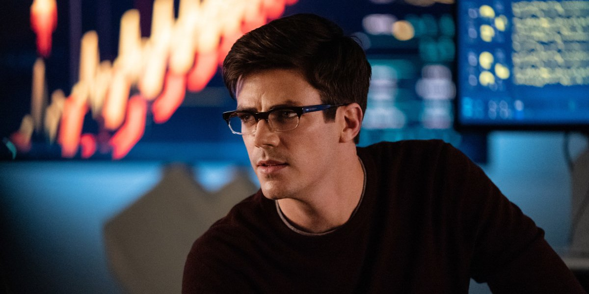 Grant Gustin as Barry Allen wearing glasses in The Flash