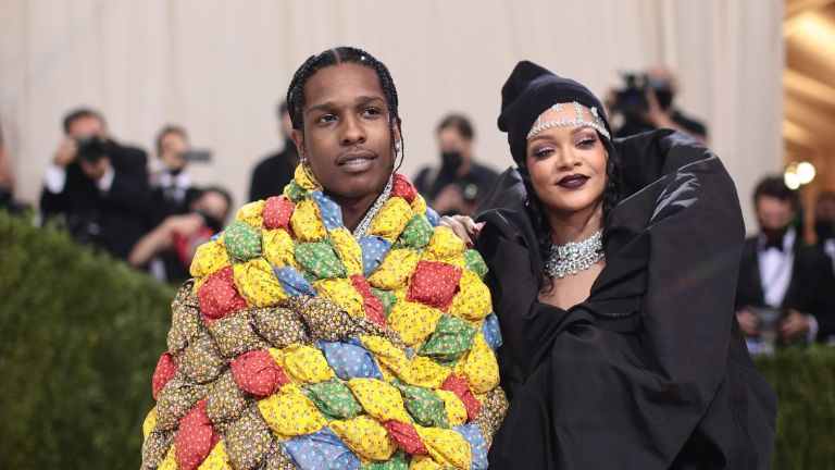 ASAP Rocky and Rihanna attend The 2021 Met Gala Celebrating In America: A Lexicon Of Fashion at Metropolitan Museum of Art on September 13, 2021 in New York City.