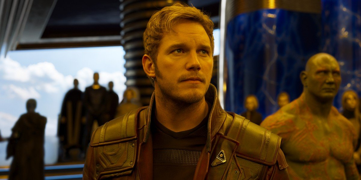 Peter Quill/Star-Lord (Chris Pratt) stares ahead in Guardians of the Galaxy (2017)