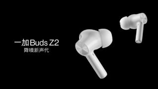 A wide shot of the OnePlus Buds Z2 in white, on a black background with the name in Chinese on the left.