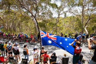 WILLUNGA HILL AUSTRALIA JANUARY 26 Willunga Hill 374m Fans Public Peloton Australia Flag during the 22nd Santos Tour Down Under 2020 Stage 6 a 1515km stage from McLaren Vale to Willunga Hill 374m TDU tourdownunder UCIWT on January 26 2020 in Willunga Hill Australia Photo by Daniel KaliszGetty Images