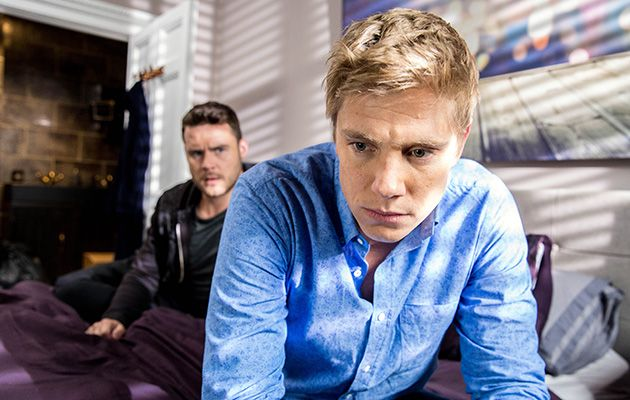 Robert Sugden's anxious as he and Aaron Dingle prepare to spend their first night in their new home. He tries to push his guilt aside by getting flirtatious but is unable to cope with his emotions and winds up telling Aaron the truth about how distraught he was with Aaron in prison and about his dalliance with Rebecca White in Emmerdale.