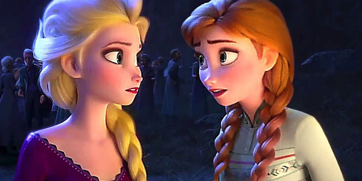 Anna and Elsa talking in Frozen.