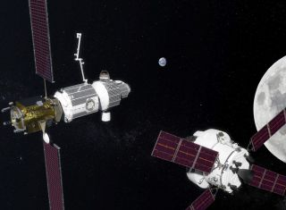 "NASA's planned ""deep-space gateway"" art"