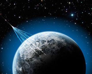 illustration of cosmic rays hitting Earth.