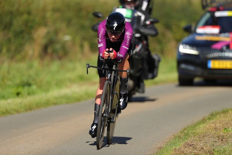 Demi Vollering (SDWorx) en route to winning the stage three individual time trial at the 2021 AJ Bell Women's Tour