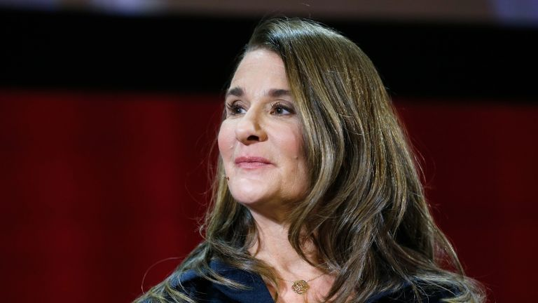 Melinda Gates speaks during the Lin-Manuel Miranda In conversation with Bill & Melinda Gates panel at Hunter College on February 13, 2018 in New York City. (Photo by John Lamparski/Getty Images)