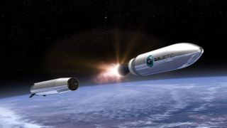 A concept drawing of Virgin Orbit's second stage rocket as it makes its way to orbit. Credit: Virgin