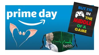 A collection of weird prime day deal images on a blue background with an Amazon prime logo