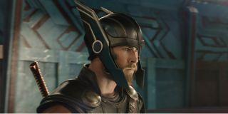 Thor: Ragnarok Thor ready for battle with his helmet