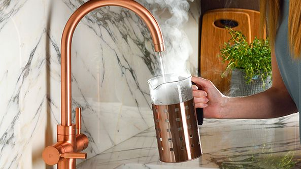 Boiling water tap in copper by Pronteau at Abode