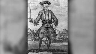 """Artist Benjamin Cole created this engraving of Blackbeard for the book """"A General History of the Pyrates"""" by Captain Charles Johnson, published in 1724."""