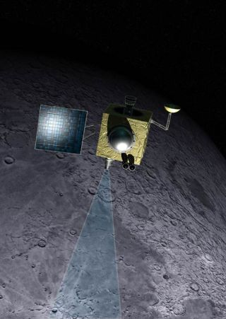 An artist's illustration of India's Chandrayaan-1 spacecraft orbiting the moon.