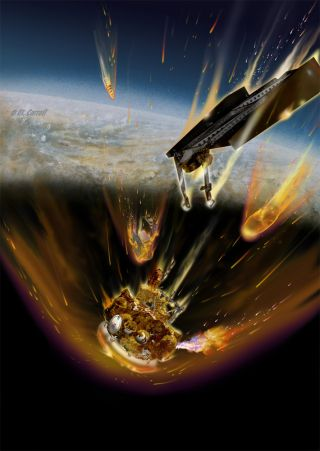 Experts predict that Russia's failed Mars probe Phobos-Grunt will crash back to Earth in mid-January 2012. This artist's concept shows fuel burning from a ruptured fuel tank as the spacecraft re-enters the atmosphere.